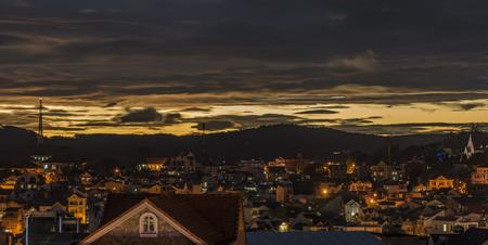 lat: Sunset in evening Da Lat city in Vietnam