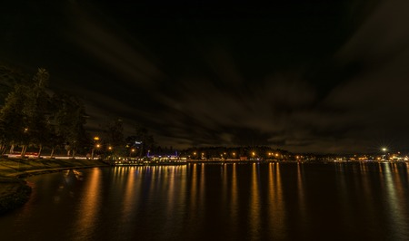 Lake in night Da Lat city in Vietnam