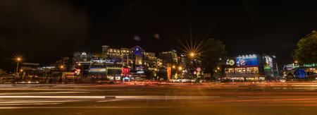 lat: Junction in night Da Lat city in Vietnam Stock Photo
