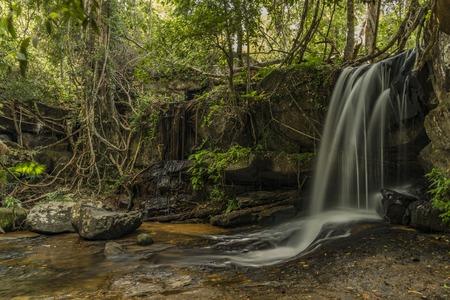 Kbal Spean waterfall in Cambodia mountains in January