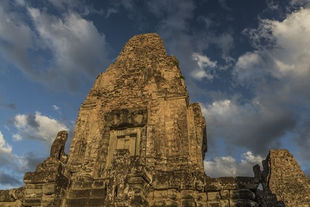Temple Angkor Thum with nice blue sky in Cambodia