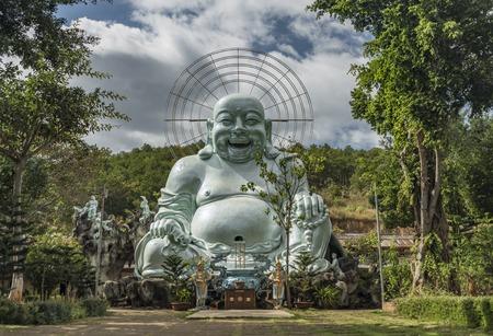 lat: Statues near Elephant waterfall near Da Lat city in Vietnam