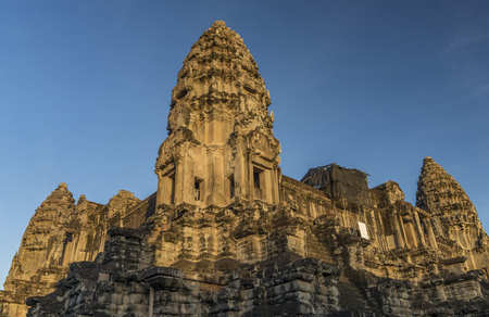 head stones: Angkor Wat temple in hot sunny morning in Cambodia