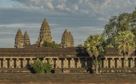 Angkor Wat temple in hot sunny evening near sunset