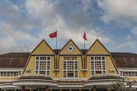 dalat: Da Lat old train station in January sunny and windy day