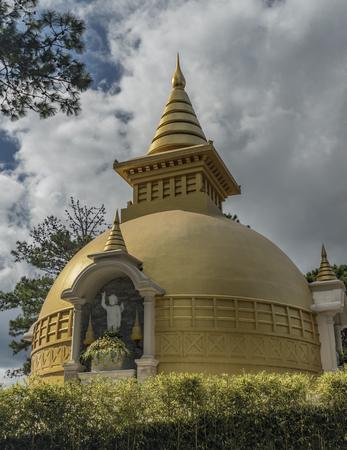 lat: Temple near cable car in Da Lat town in Vietnam Stock Photo