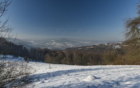 ceske: Sunny winter day near Vrabinec hill and ruin