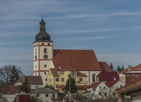 ceske: Church in Rudolfov town near Ceske Budejovice city Stock Photo