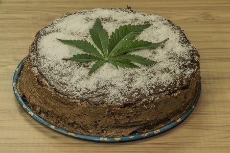 Chocolate marijuana cake with marijuana green butter