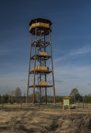 Observation tower near Bela pod Bezdezem town in spring day Stock Photo