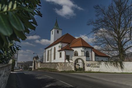 ceske: Church in Valtirov village near main road in spring sunny day Stock Photo