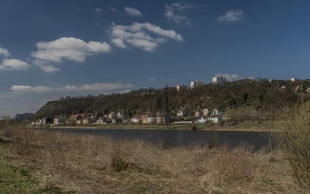 rushes: River Labe in Svadov village in sunny spring day Stock Photo