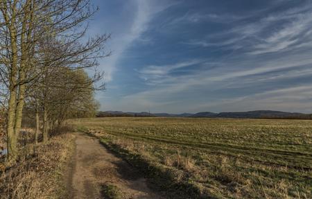 cheroot: Pond on Strizovicky hill in Usti nad Labem city in spring evening