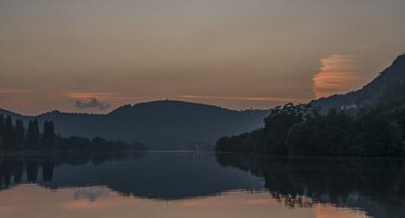 ceske: Orange sunset near Sebuzin village and Labe river