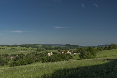 ceske: View in Ceske Stredohori near Arnultovice village in sunny spring day
