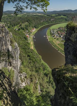 saxon: Big rocks near Bastei bridge in valley of river Elbe or Labe in spring sunny day Stock Photo