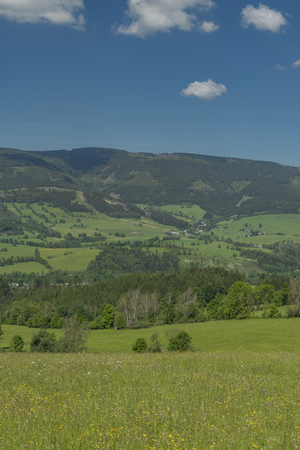 View in Jeseniky mountains in spring sunny nice day
