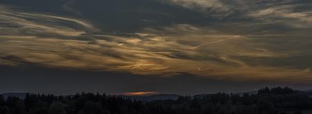 krkonose: Orange sunset near Roprachtice village in spring evening Stock Photo