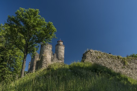 castle rock: Sukoslav castle with dark blue sky and big old tower