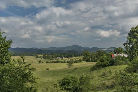 Cloudy day in Vysoka Lipa village in national park 版權商用圖片