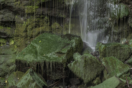 nad: Vrkoc waterfall near river Labe in north Bohemia with nice green moss stones