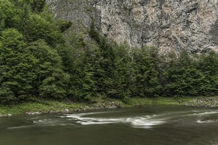 rafter: White waves on Dunajec river in summer cloudy day Stock Photo
