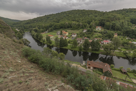 Vranov nad Dyji town with castle in cloudy summer day