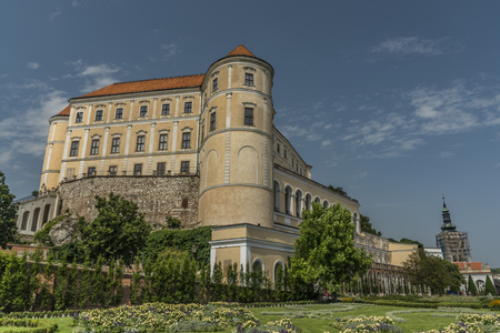 Castle Mikulov in summer sunny day with blue sky 写真素材