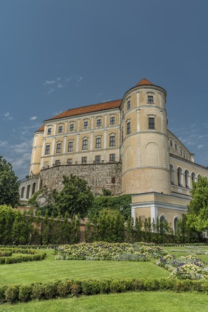 Castle Mikulov in summer sunny day with blue sky Stock Photo