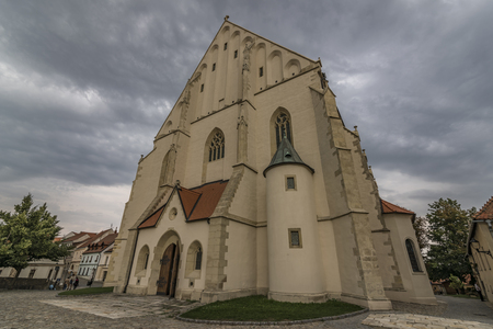 Znojmo town in dark cloud summer day with old buildings