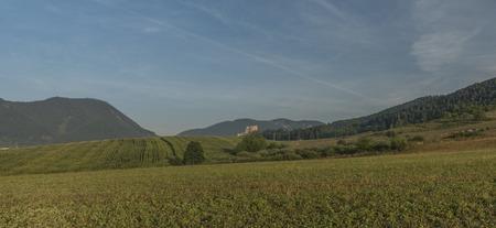 ruzomberok: View near Ruzomberok town with big hill and sunrise Stock Photo