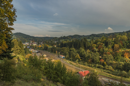 Becov nad Teplou town in west Bohemia in autumn evening Stock Photo
