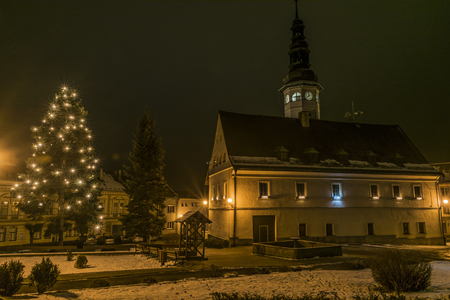 City hall in night in Stare Mesto in Jeseniky mountains Stock Photo