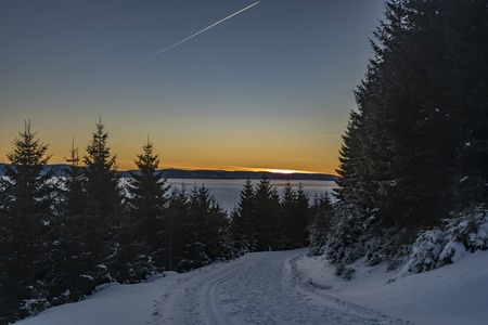Morning with sunrise in Jeseniky mountains in winter sunny day Stock Photo