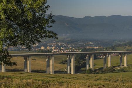 ruzomberok: Summer sunny morning near Ruzomberok Slovakia town Stock Photo
