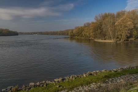 Confluence of Dunaj and Morava rivers in sunny autumn morning