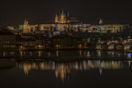 Prague castle in autumn dark color night Stock Photo