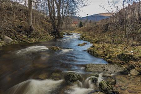 Smeda river in Bily Potok pod Smrkem village in Jizerske mountains Banco de Imagens