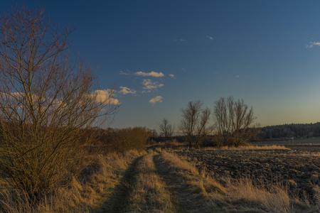 Sunset near Ceske Budejovice city in winter evening Reklamní fotografie