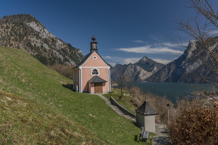 Chapel over Ebensee town with nice sea and mountains