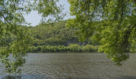 Valley of river Labe near Sebuzin village in spring sunny nice day Imagens - 101358622