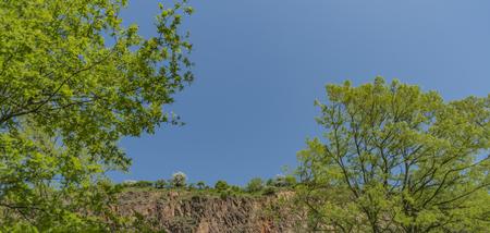 Valley of river Labe near Sebuzin village in spring sunny nice day Reklamní fotografie