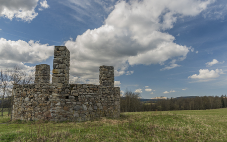 Scaffold place near Horni Slavkov town on green meadow in spring day Archivio Fotografico - 102033935