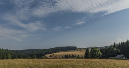 Landscape near Horni Blatna town in summer sunny nice morning