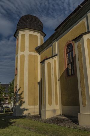 Church in Horni Blatna town in summer hot sunny morning Фото со стока