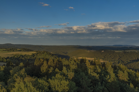 View from observation tower Krasno in summer nice sunny evening Stock Photo