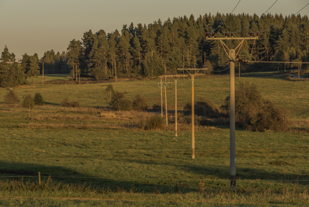 Electric poles with sunset meadows and forest in Sumava national park in autumn evening Reklamní fotografie