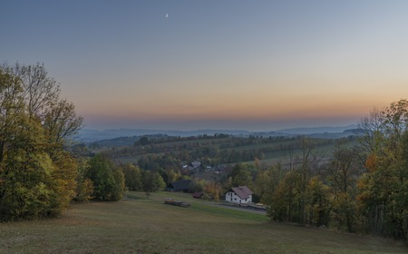 Roprachtice Krkonose mountains village in autumn evening after sunset