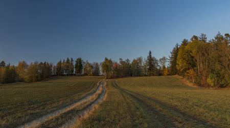 Color dry autumn in Krkonose national park near Roprachtice village