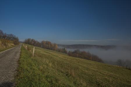 Nice morning with inversion in valley near Zitkova village near Slovakia border